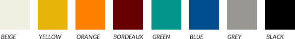 cushions' upholstery colour range