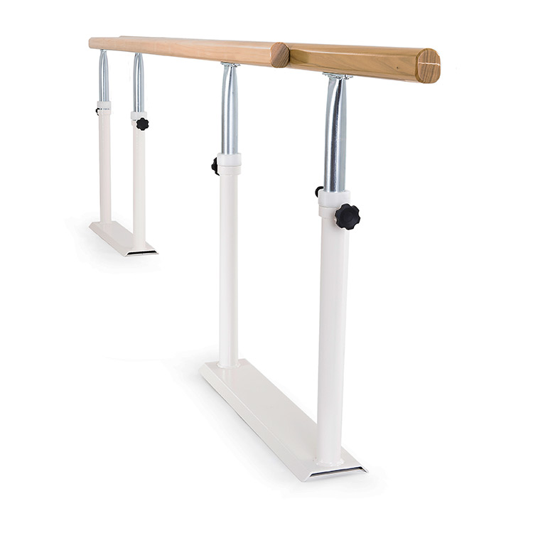 Foldable parallel bars with wooden handrail - folded