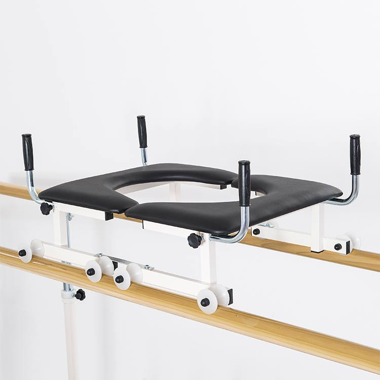 Double patient stabiliser for parallel bars with wooden handrail
